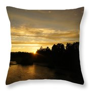 Sunset On The Rogue River Throw Pillow