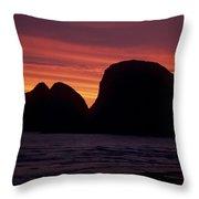 Sunset On Three Arch Rocks Bird Sanctuary Throw Pillow