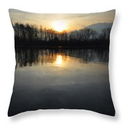 Sunset Over A Lake Throw Pillow