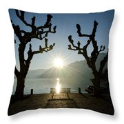 Sunset Over A Lake With Trees Throw Pillow