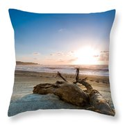 Sunset Over A Misty Beach Throw Pillow