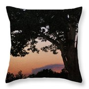 Sunset Over A Witness Tree Throw Pillow