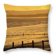 Sunset Over Beach In Winter Youghal Throw Pillow