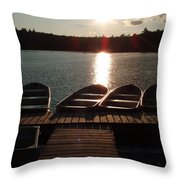 Sunset Over Bear Pond Sabattis Adventure Camp Throw Pillow