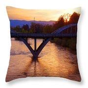 Sunset Over Caveman Bridge Throw Pillow