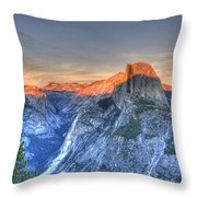 Sunset Over Half Dome Throw Pillow