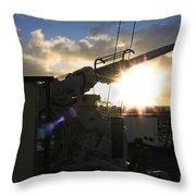 Sunset Over Long Beach Throw Pillow