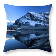 Sunset Over Many Glacier Lodge Throw Pillow