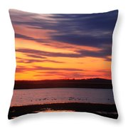 Sunset Over Marshes Parker River National Wildlife Refuge Throw Pillow