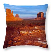 Sunset Over Monument Valley Throw Pillow