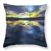 Sunset Over Mystic Lakes Throw Pillow