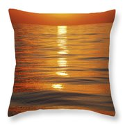Sunset Over Ocean Horizon Throw Pillow