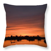 Sunset Over River Throw Pillow by Axiom Photographic