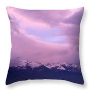 Sunset Over Snow-capped Mountains Throw Pillow