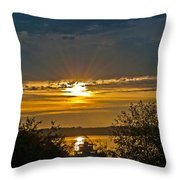 Sunset Over Steilacoom Bay Throw Pillow