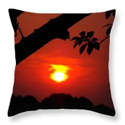 Sunset Over The Golf Course Throw Pillow