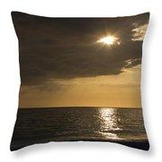 Sunset Over The Gulf - Peeking Through The Clouds Throw Pillow