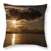 Sunset Paddleboarder Throw Pillow
