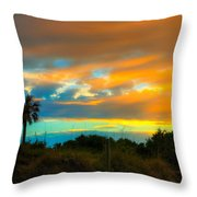 Sunset Palm Folly Beach  Throw Pillow
