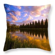 Sunset Reflection On A Pond, Portland Throw Pillow by Craig Tuttle