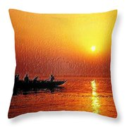 Sunset Rowing Throw Pillow