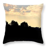 Sunset Silhouettes Over Star Lake Throw Pillow