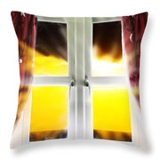 Sunset Through Window Throw Pillow
