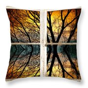Sunset Tree Silhouette Abstract Picture Window View Throw Pillow