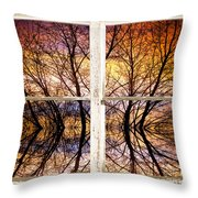 Sunset Tree Silhouette Colorful Abstract Picture Window View Throw Pillow by James BO  Insogna