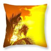 Sunset, Wailea, Maui, Hawaii, Usa Throw Pillow