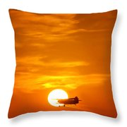 Sunset With Plane Throw Pillow