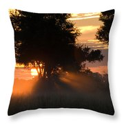 Sunset With Silhouetted Trees Throw Pillow
