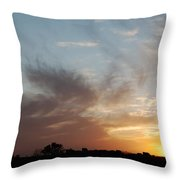 Sunset With Some Cows Throw Pillow