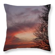 Sunset With Trees Throw Pillow