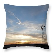 Sunset With Windmill Throw Pillow