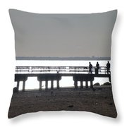 Sunsets On Coney Island Pier Throw Pillow