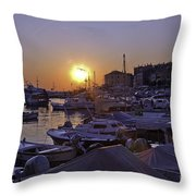 Sunsetting Over Rovinj 1 Throw Pillow