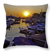 Sunsetting Over Rovinj 2 Throw Pillow