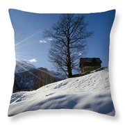 Sunshine Over The Snow Throw Pillow