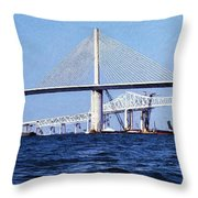 Sunshine Skyway Bridge II Throw Pillow