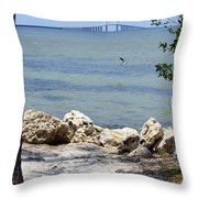 Sunshine Skyway From The Causeway Throw Pillow