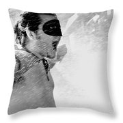 Superboy Of Peachtree Black And White Throw Pillow