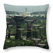 Supertrees At The Gardens By The Bay In Singapore Throw Pillow