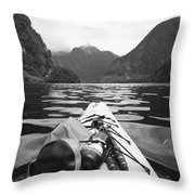 Supplies On The End Of A Kayak Going Throw Pillow