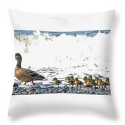 Surf Ducks Throw Pillow