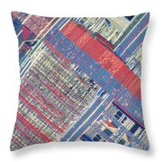 Surface Of Integrated Chip Throw Pillow by Michael W. Davidson