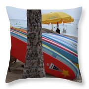 Surfboards On Waikiki Beach Throw Pillow