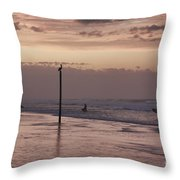 Surfers Pelicans And Pink Sky Throw Pillow