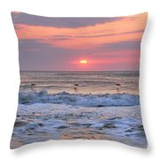 Surfing Pelicans Throw Pillow