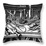 Surgical Equipment, 16th Century Throw Pillow